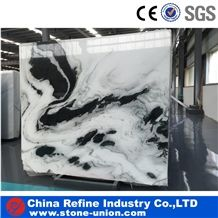 Panda White Marble Slabs & Tiles, Wall & Floor Covering,Landscape Paintings,White with Black Viens,Dalmata Mountain White, Panda Marmara