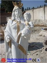 White Figure Sculpture, Woman Carving Statue
