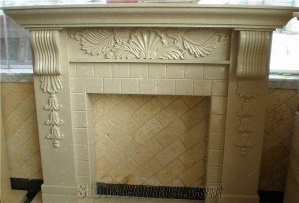 Royal Botticino Fireplace Decorating Natural Stone Fireplaces