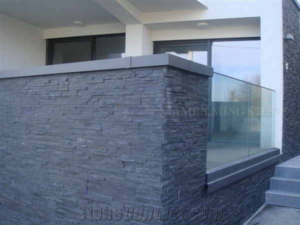 China Black Slate Cultured Stone Wall Panel Split Face