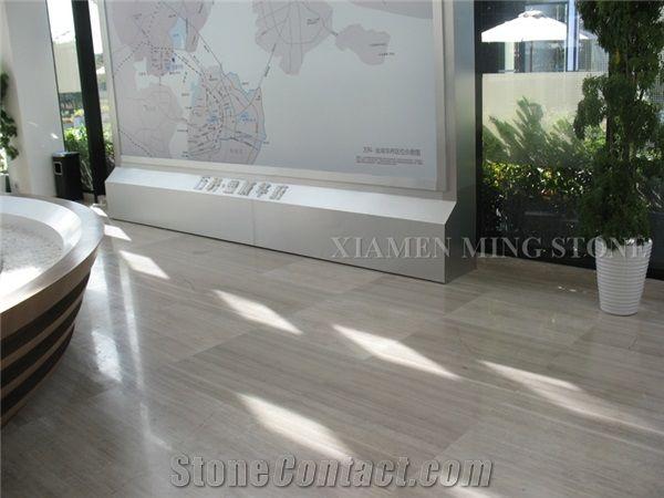 China White Wooden Vein Marble Machine Cutting Floor Tiles