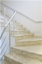 Diana Royal Beige Marble Interior Villa Staircase for Floor Stepping,Cream Impero Reale Marble Riser