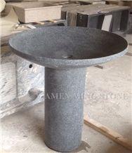 G668 China Dark Grey Sesame Granite Mushroom Shaped Pedestal Wash Basins for Bathroom or Exterior Landscaping Round Stand Sinks