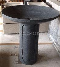 G668 China Dark Grey Sesame Granite Pedestal Wash Basins for Bathroom or Exterior Landscaping Round Sinks