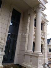 Portugal Beige Classico Crema Limestone Roman Sculptured Columns,Villa Building Pedestal Columns