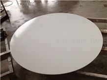 Solid Surface Artificial Thassos White Stone Crystallized Glass Nano Interior Tabletops,Engineered Stone Pure White Round Coffee Table