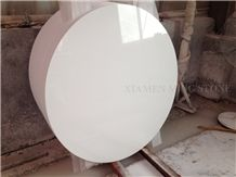 Solid Surface Artificial Thassos White Stone Crystallized Glass Nano Interior Tabletops,Engineered Stone Pure White Round Table