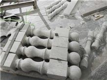 Super Grey Spray Sea Wave Marble Polished Balustrade,Machine Cut Balcony Baluster for Villa Exterior Stone