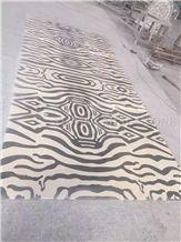Tiger Skin Waterjet Beige Black Marble Medallions Pattern Floor Paving Interior Stone,Hotel Carpet Medallions