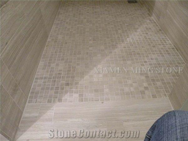 White Wooden Vein Marble Machine Cutting Moisaic Bathroom Floor