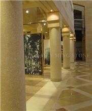 Yellow Limestone Coral Stone Interior Lobby Column Interior