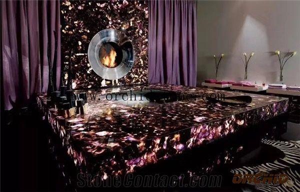 Amethyst Semi Precious Translucent Stone Slabs Tiles Amethyst Gemstone Backlit Decorative