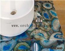 Blue Agate Semi Precious Stone Backlit Vanity Tops,Work Tops,Kitchen Countertops,Bar Tops,Island Tops,Blue Gemstone Translucent