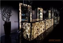 Semi Precious Stone Smoky Quartz for Translucent Countertops,Work Tops,Reception Tops,Gemstone Backlit Reception