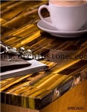 Tiger Eye Semiprecious Stone Coffee Table,Tiger Eye Table Tops,Reception Tops,Kitchen Countertops,Bar Top