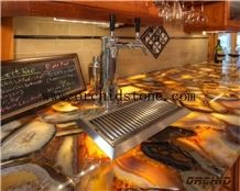 Yellow Agate Semi Precious Stone Translucent Hotel Reception Countertops,Yellow Gemstone Backlit Tops,Worktops,Dinning Table Top