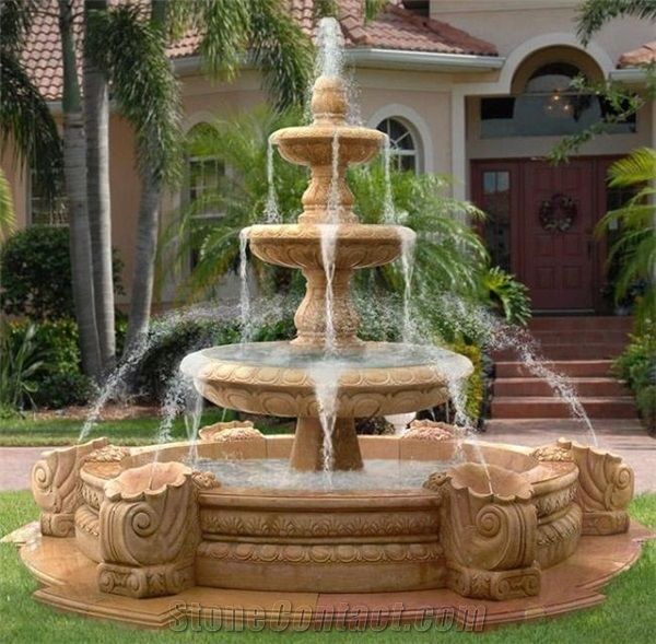 Large Outdoor Water Features.3 Tiers White Marble Large Garden Water Fountain Outdoor