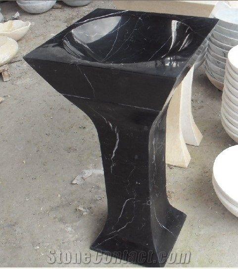 Black Marble Farm Basins Nero Marquina Pedestal Basin For Bathroom Simple Black Marble Bathroom Model