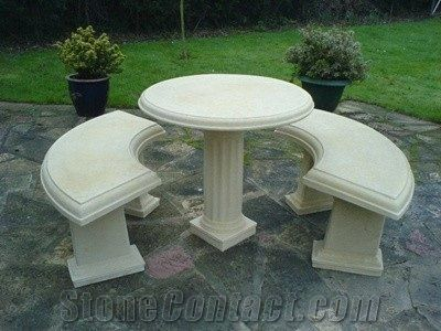 China Cheap Granite Outdoor Natural Stone Round Table And Chair Set - Stone picnic table set