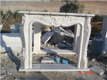 China Cheap Hand-Carving Stone Indoor Used White Marble Fireplace