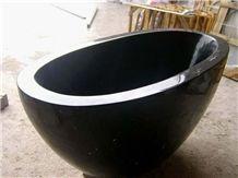 Custom Design Black Marquina Bathtub, Natural Stone Freestanding Bathtub