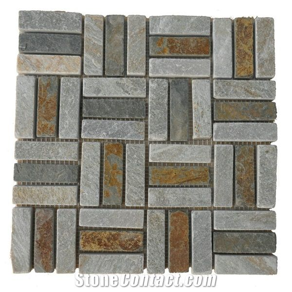 Natural Stone Slate Mosaic Tile For Outdoor Floor Covering