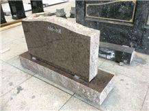 Brown Granite Upright Marker Monuments, Traditional American Headstones, Serp Top Die, Cemetery Memorials, Cemetery Grave Markers, Wholesale Granite