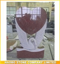 High Polished Natural Stone China Quarry Carved Swan Heart Red Granite Monuments Manufacturer ,Cheap Gravestone, Unique Cemetery Headstones Price
