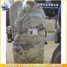 High Quality Factory Price Good Service China Quarry Green Forest Granite Carved Weeping Angel Monument Designs with Certification Iso9001 for Sale