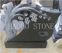 High Quality Good Price Natural Quarry Stone Customized Size Haobo China Factory Beautiful Carved Tree India Mist Granite Headstone Designs for Sale