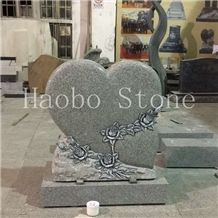 New Carved Rose Double Heart Shaped Memorials Designs, Unique Cheap Headstone for Cemetery,Antique Tombstone,Customized Monument,Gravestone Low Price