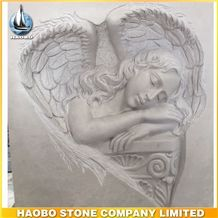 Upright Headstone Haley Beige Marble Gravestone Handcrafts Monument with Ange Sculpture Design Headstone Western Style Cemetery Tombstone