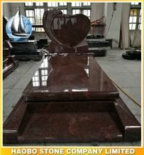 Wholesale China Quarry Customize India Red Granite Rose Etching Heart Shaped Gravestone,Headstone Sign for Cemetery Bench,Cheap Large Tombstone Price