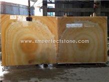 Pakistan Crystal Honey Onyx Slabs,Bookmatched Polished Yellow Onyx 16mm Big Slab
