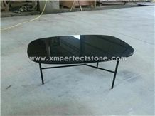Round/Oval/Square/Rectangle Coffee Table Top/Highli Polished Black Marble Table