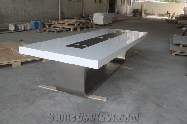 Acrylic Solid Surface Artificial Stone Office Furniture Multi Colors - Stone conference table