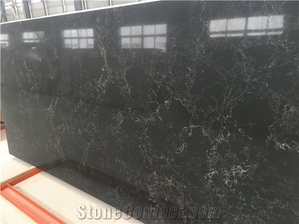 Artificial Marble Series Black Quartz Stone Slab For
