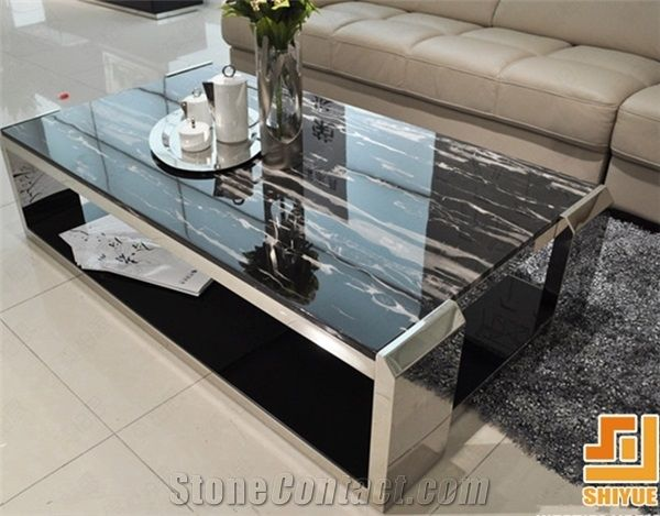Ordinaire China Nero Black Potoro,Silver White Dragon Natural Polished Marble Stone Table  Top