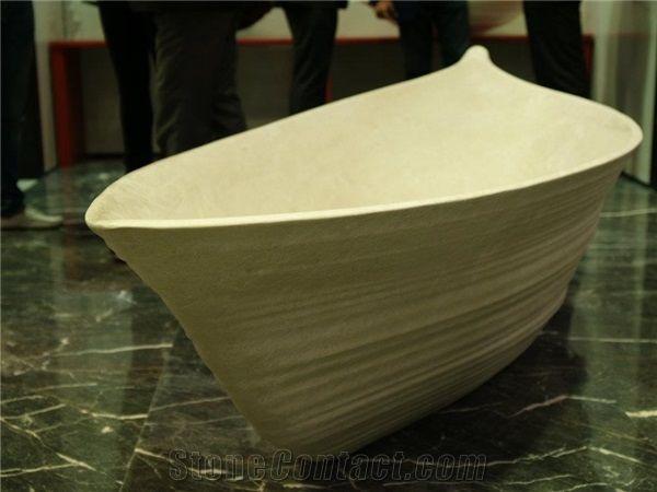Albus Limestone Carved Bath Tub from Croatia - StoneContact.com