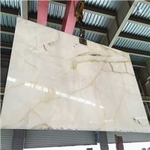Polished Persian White Onyx Slab 2cm Thickness, Pure White Onyx,Iran Gold White Onyx Slab,Snow White Onyx,Golden White Onyx Slab