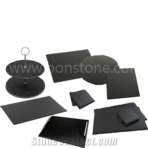 dinner black slate stone plate black slate kitchen accessories and rh stonecontact com black and white kitchen dishes Cartoon Kitchen Dishes