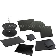 Dinner Black Slate Stone Plate,Black Slate Kitchen Accessories and Utensils, Food Trays,Natural Stone Dishes,Cookware