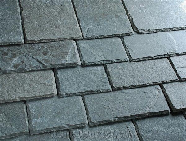 Rectangular Black Slate Roofing Tile Sides Natural Split