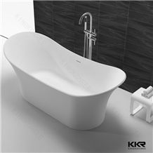 Kkr Eco-Friendly Sanitary Ware White Marble Stone Bathroom Shower Bathtub Luxury Pure Acrylic Solid Surface Spa Hot Tub
