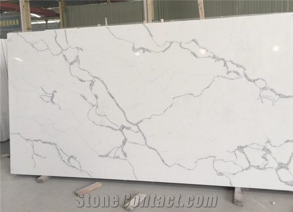 Calacatta Marble Look White Statuario Clic South Beach Venato Aran Quartz Stone Slab With Grey Veins