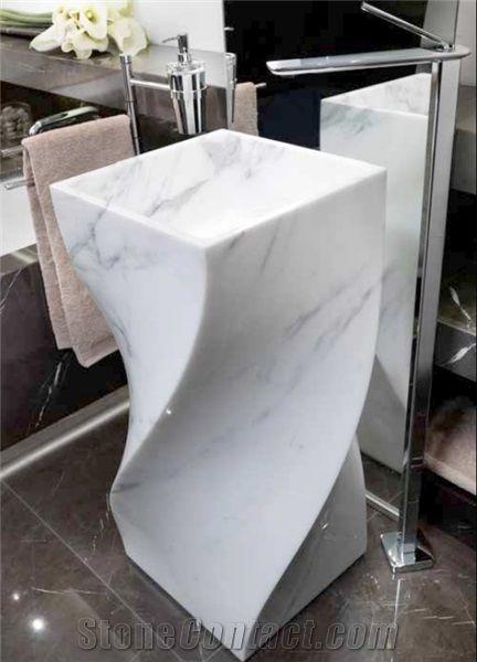 Carrara White Marble Pedestal Sink Bianco White Marble