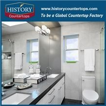 2017 New Style Own Factory High Quality Polished Countertops California Grey with Customized Edges, Solid Surface Bathroom Tops, Custom Vanity Tops