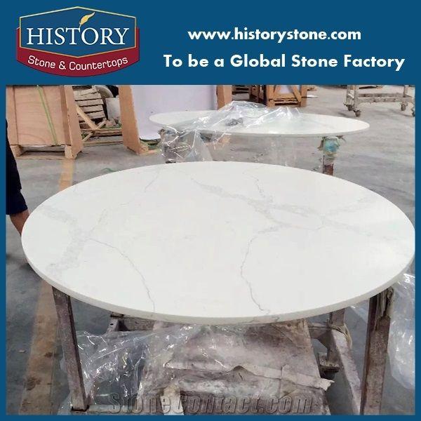 Factory Price Classic Calacatta Nuvo Quartz Table Tops White