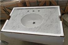 Italy Bianco Carrara White Prefab Vanity Tops