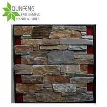Yellow Slate Cement Stacked Stone Culture Stone Back Concrete/ Column
